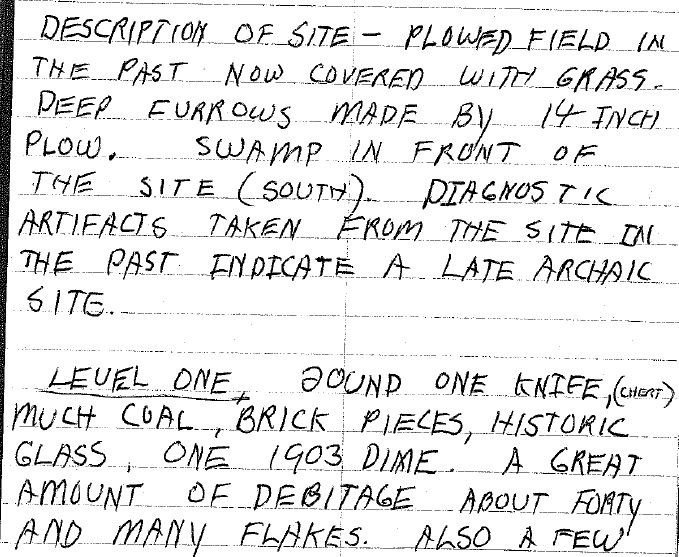 9 Site description and excavation from Bray field notes, 1979