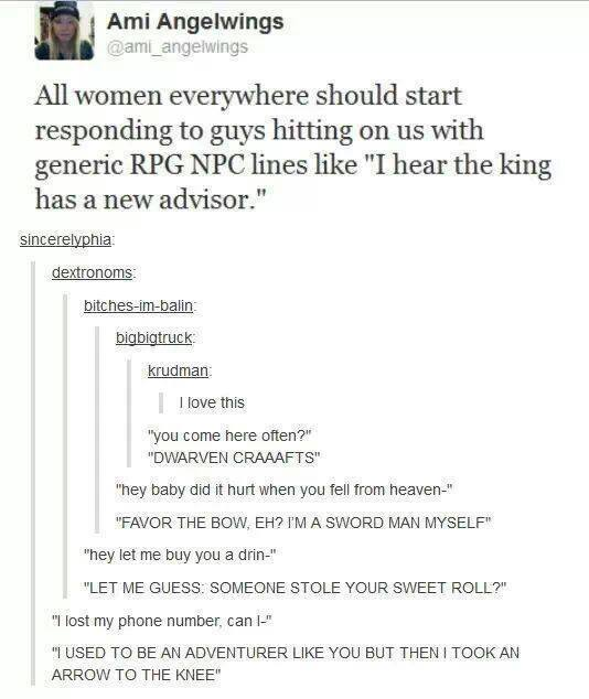 respond to pickup lines as a RPG NPC non player character flirting