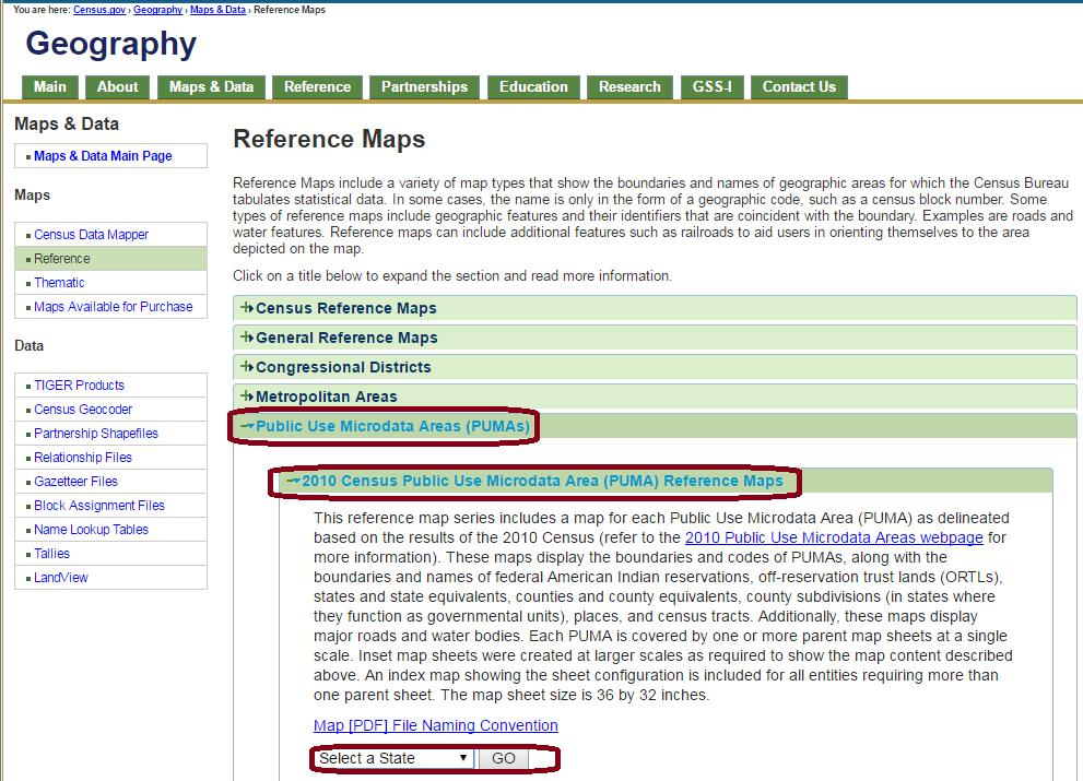 finding your PUMA in census geography reference maps