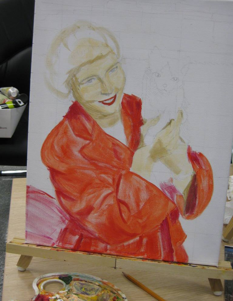 2012 Portrait of Char in acrylics, step 1