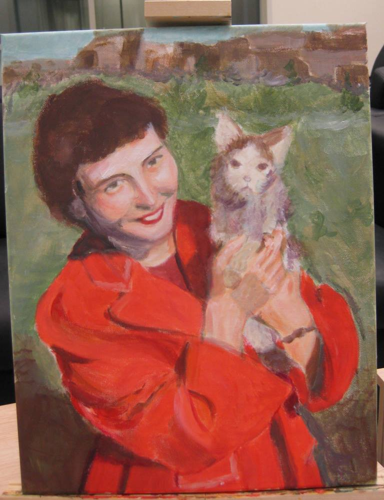2012 Portrait of Char in acrylics, step 2