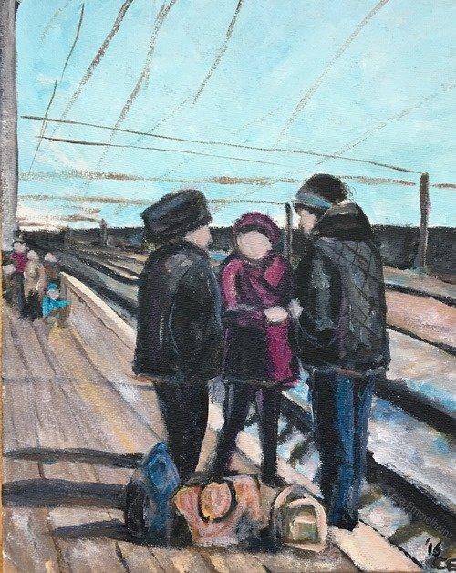 railway station to Borovoye acrylics painting Kazakhstan