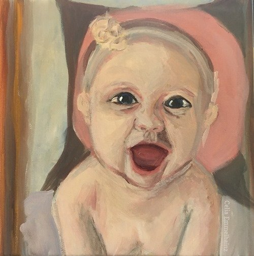 baby grinning portrait infant square acrylics painting