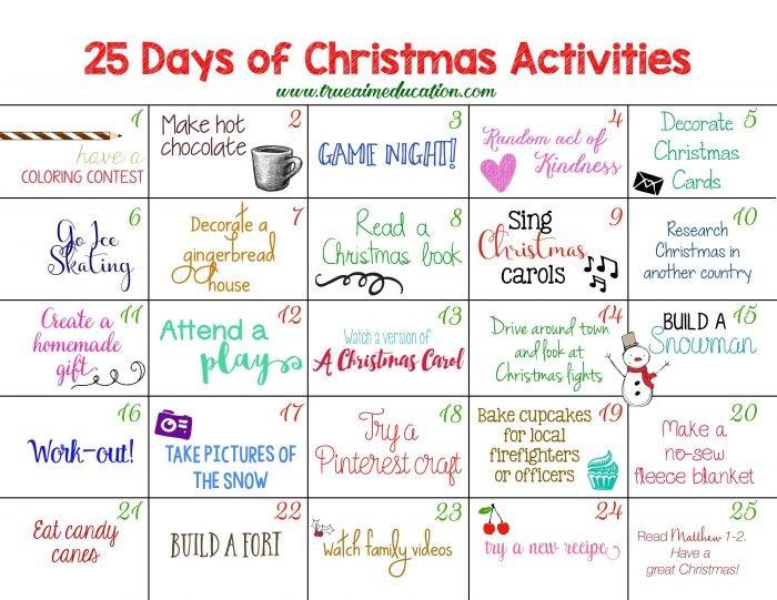 Christmas activities, by trueaimeducation.com