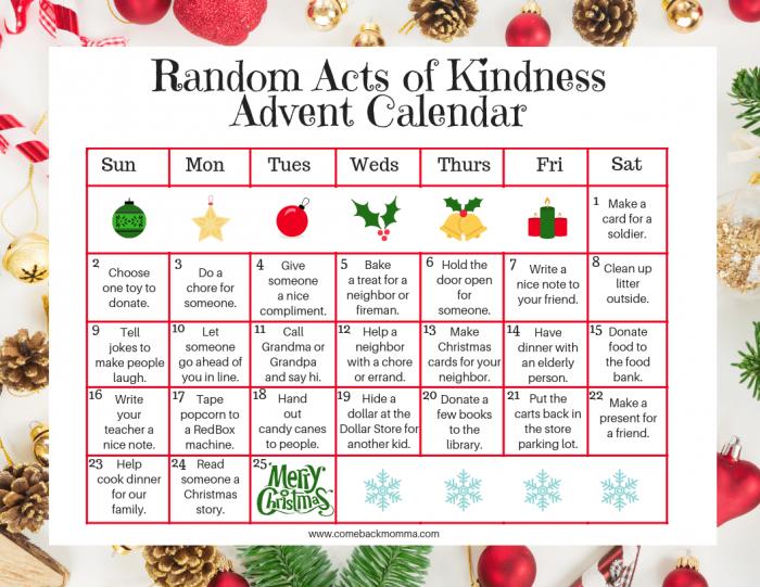 Kindness Advent Calendar by comebackmomma.com